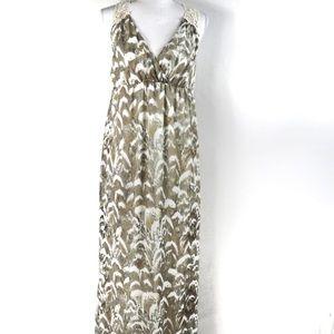 T391 Cato Cream Tan Gray Maxi Dress Crochet Back 8